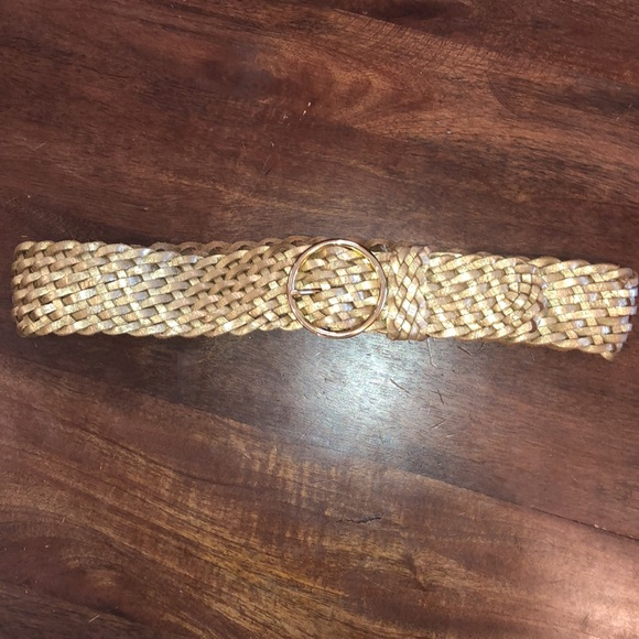NWT Tommy Hilfiger leather weave gold belt S *